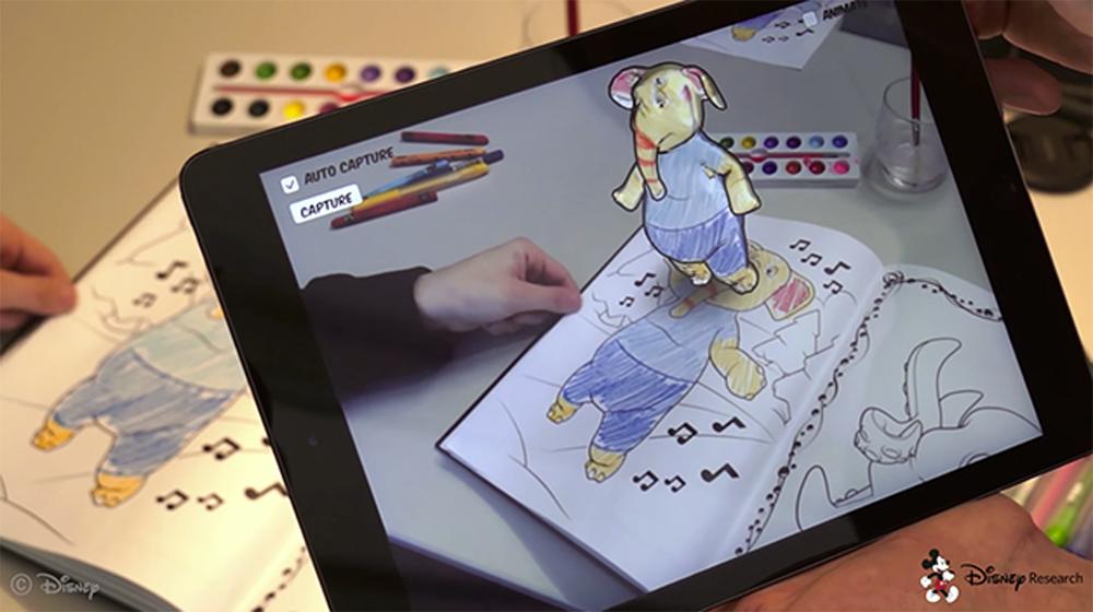 Livro de colorir em realidade aumentada feito pela Disney.